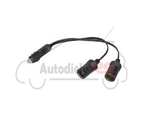 Predlžovací kábel 2-zásuvky 12/24V 25cm AUTOMAX