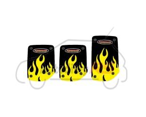 Imitácia športových pededálov plameň žlté TUNINGAGE