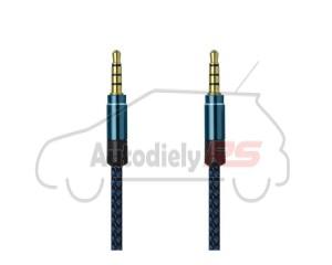 AUX kábel 2 x 3,5mm jack, modrý, 1,5 m