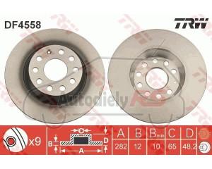 Kotúč brzdy zadný TRW 282x12 Octavia II RS  Superb II, Yeti, Golf V, VI, Sharan II, Passat, Touran, Alhambra II, Leon, Toledo III